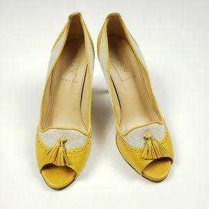 J.Crew leather heels tassel open toes sz 6.5